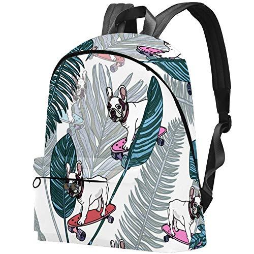 Französische Bulldogge auf Skateboard und tropischen Palmblättern Bag Teens Student Bookbag Leichte Umhängetaschen Reiserucksack Tägliche Rucksäcke