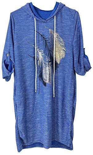 K-Milano Sudadera con capucha para mujer, estampado metálico, con bolsillos y cordón Color azul. 40/46 ES