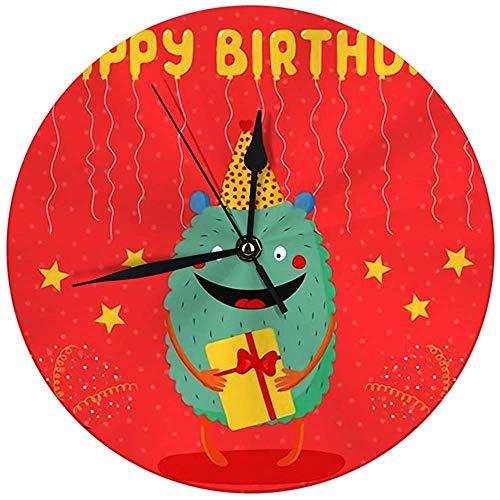 Butty wandklok geen tikkende verjaardagskaart met schattig grappig monster in de partij hoed, de bestaande tekst I digitaal rond horloge houdt