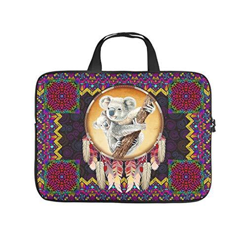 Native American Koala Laptop Case Bag Waterproof High Capacity Zipper Multi-Color 10-17 Inch for Teen White 12 Zoll