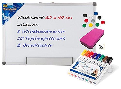 Idena 568019 - Whiteboard Alu-Rahmen, ca. 40 x 60 cm, mit Stiftablage (Board + Marker + Magnete + Löscher, Fuchsia)