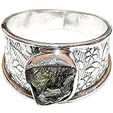 SunnyCrystals Moldavite Ring Natural Meteorite Gem Sterling Silver Charming (Size 10) MDR260
