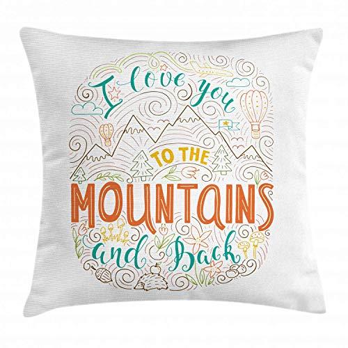 Federa per cuscino con scritta 'Ti amo per le montagne e parole sul retro' Esplorazione a tema di San Valentino all'aperto, federa quadrata decorativa in Acnt, 45 cm X 45 cm, multicolore