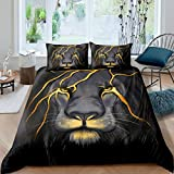 Lion Bedding Animal Duvet Cover Set King Size Lightning Lion Pattern Comforter Cover 1 Lion Head Duvet Cover 2 Pillowcases,Grey Black Soft Microfiber Bed Cover for Teen Boys Young Man Decoration Room