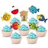 WERNNSAI Pez Cupcake Topper - Pescador Cupcakes Decoración para niño Baby...