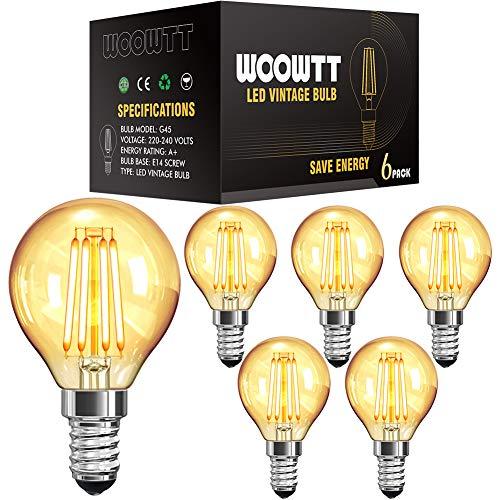 E14 LED Vintage Glühbirne, Woowtt Kleine Edison Retro Glühbirne, 6W LED Filament Glühlampen, Amber Warm Licht Globe G45, 220V, 6W, Nicht Dimmbar - 6 Stück