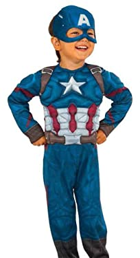 Captain America Muscle Chest w/ Mask Halloween Costume Toddler 3T-4T