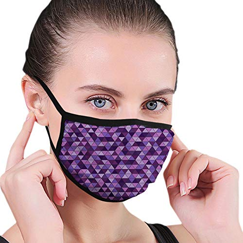 Comfortable Windproof,Triangle Grid Pattern Mosaic Tile in Lavender Plum Purple Amethyst Tones of Color,Printed Facial Decorations for Unisex ABT-0004899