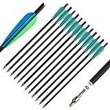The7boX Flechas de Ballesta de Carbono de 20 Pulgadas, Pernos Cruzados para Práctica de Tiro con Arco de Caza, Hoja de 4 Pulgadas, Puntas de Flecha de 125 Franos (12 Piezas)