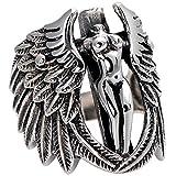 Beydodo Silber 925 Ring für Herren Punk Rock Engelsflügel Kreuz Freundschaftsringe Ringe Männer Silber Große 63 (20.1)