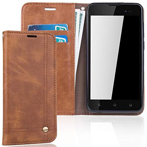 König Design Handyhülle Kompatibel mit Wiko Sunny 2 Plus Handytasche Schutzhülle Tasche Flip Hülle mit Kreditkartenfächern - Braun