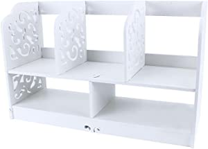 EBTOOLS Etagère de Rangement avec 5 Compartiments Organiseur Bureau Bibliothèque de Table Etagère de Stockage 2 Couches pour Maison Bureau Blanc