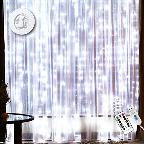 12 Drops Curtain Lights - Waterproof 300 LEDs Curtain String Light with 16 ft USB Wire - Remote Control & Timer - 8...