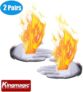 4 Pcs Magic Props Palm Fire Gloves Flame Burning in Hands Stage Magic Tricks Toys for Magicians,Magic Lovers,Magic Show