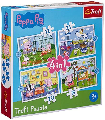 Trefl, Rompecabezas de Recuerdo de Vacaciones de Peppa Pig de 12 a 24 Piezas, Juego de 4 Piezas, para niños a Partir de 3 años