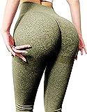 Qric Leggings deportivos para mujer, sin costuras, ajustados, cintura alta, opacos, de compresión, para mujer Scrunch Green M