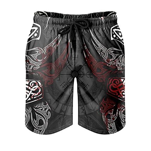 kikomia Pantalones cortos de playa para hombre, diseño vikingo, Vegvisir, con bolsillos, forro de malla, Hombre, Blanco, small