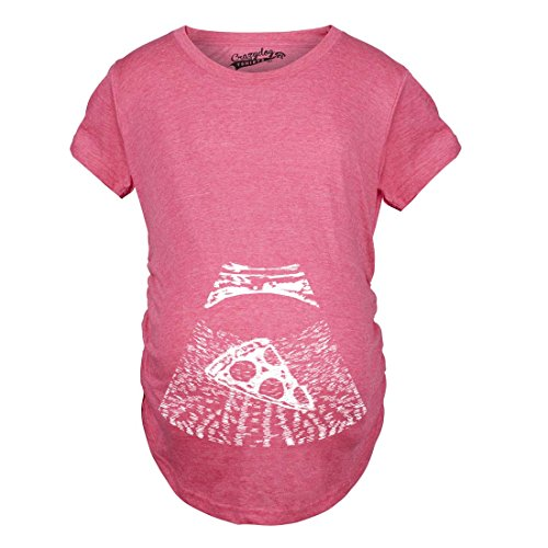 Crazy Dog Tshirts - Maternity Ultrasound Pizza Funny T Shirt Cheap Pregnancy Shirts Cool Novelty (Pink) - 3XL - Femme