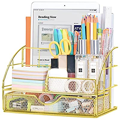 Amazon - 30% Off on Desk Organizer for Women, Office Desktop Pen Holder Caddy with 5 Compartments + 1 Large Drawer