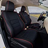 EKR Custom Fit Full Set Car Seat Covers for Select Toyota RAV4 Limited XLE SE Platinum Adventure 2013 2014 2015 2016 2017 2018 (NOT for EV OR Hybrid) - Leatherette (Black with Red Trim)