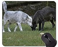 滑り止めラバーゲーミングマウスパッド、動物オオカミ少女マウスパッドマット