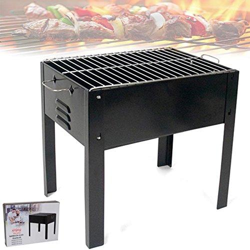 Bakaji Barbecue portable avec 4 jambes alimentation à charbon charbon pour barbecue Viande Poisson légumes Jardin Patio Terrasse Pic Nic Idéal pour 3 – 5 personnes en fer chromé noir 35 x 24 x 35 cm