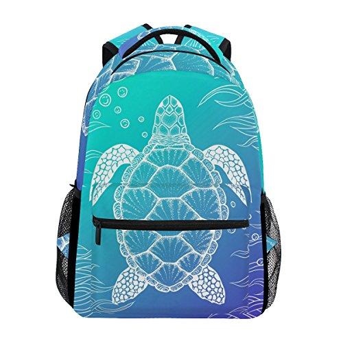 U LIFE Backpack School Bags Laptop Casual Bag Ocean Sea Aquatic Turtle Tortoise