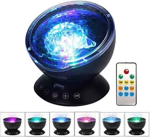 Lámpara de proyector Ocean Luz de Noche, con Control Remoto y Temporizador, Luces de Noche para niños con 8 Modos de Color, para Regalos de bebé, Decoración de Fiestas