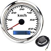 スピードメーター 30-200 km / h車のGPSスピードメーターゲージ316オートバイの自動車トラックのためのGPSアンテナが付いているステンレス鋼ベゼルボート速度計 (Color : BS60kmh GPS)