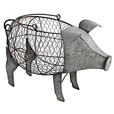 A&B Home 37542 Metal And Wire Pig Basket with Handle