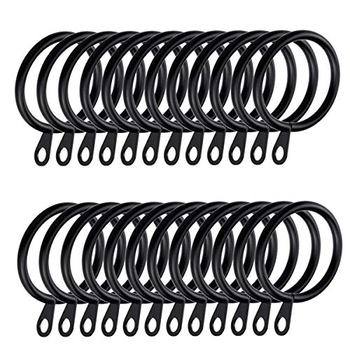 IPEAK Curtain Rings, Metal Curtain Rings Hanging Hooks For Curtain Rods Pole, 30 mm Internal Diameter, 36 x Rings (Black)