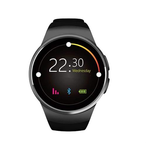 Montre Connectée pour Smartphone Apple iOS Android et Windows Bluetooth 4.0 montre intelligente avec Support carte SIM, Rythme cardiaque et fonction Fitness Couleur Noir