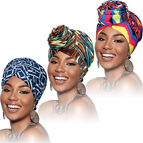 3 Pieces Head Wraps for Women, Stretch African Turban Long Soft Headwrap Bohemian Scarf