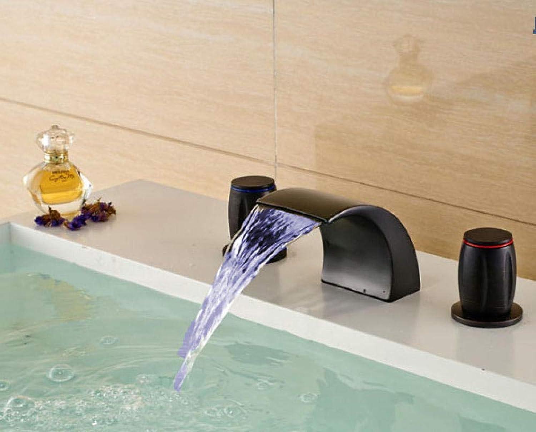 Euro Style LED Farbwechsel l eingerieben Bronze Badezimmer Deck montiert Badewanne Wasserhahn