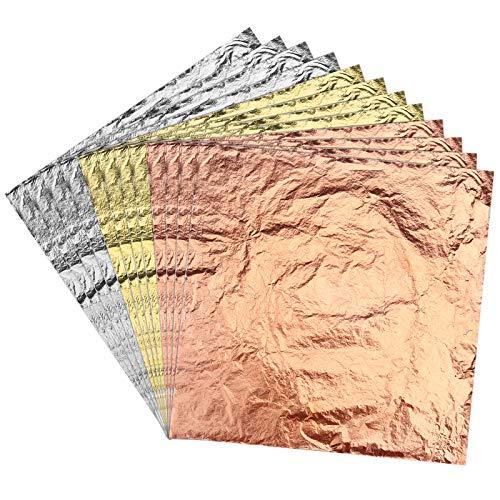 LUTER 14x14cm 150 Feuilles Imitation Or Argent Feuille de Cuivre pour Bricolage Dorure Artisanat Arts Projet Décoration