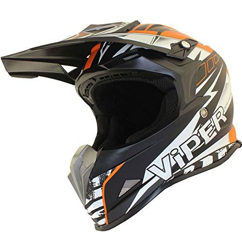 Viper RSX121 Motorcycle Helmet Orange Supermotocross ECE Approved Trail Downhill Adventure Bike...