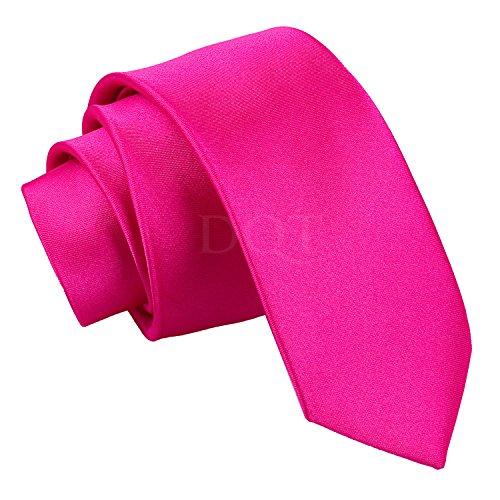 Skinny Tie Corbata fina rosa fuerte, 142 cm de largo