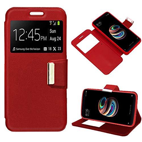 iGlobalmarket Xiaomi Redmi 5 Plus, Funda con Tapa, Apertura Lateral Tipo Libro, Cuero PU, Color Rojo