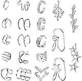 Adramata 20PCS Ear Cuff de Acero Inoxidable para Mujeres Orejas no Perforantes Clip de Cartílago Hélice con Envoltura Pendiente Ear Cuff Set para Mujeres Hombres