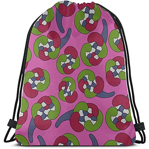 Bouia Creatieve retro kleurrijke tegels jongens trekkoord tas polyester Een koordsluiting tas koordsluiting schoudertas voor fitnessstudio reizen
