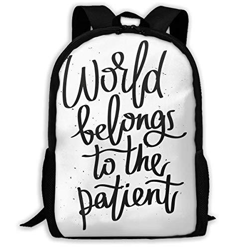 AOOEDM Mochila de Viaje Mochila para portátil Mochila Grande para pañales - El Mundo Pertenece al Paciente Mochila Escolar Mochila para Mujeres y Hombres