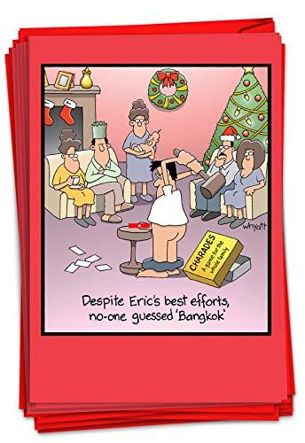NobleWorks - 12 Funny Cartoon Cards for Christmas - Adult Holiday Humor, Boxed Stationery Notecard Set (1 Design, 12 Cards) - Bangkok B1689