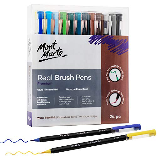 Mont Marte Premium Watercolor Real Brush Pens, 24pc Artist Coloring Set, Super Flexible Brush Tip, Perfect for Creating a Range of Strokes, Ideal for Art, Design, Lettering and Coloring