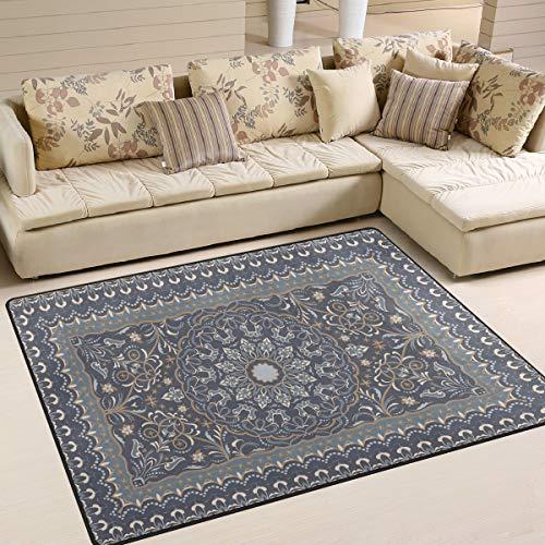 Mnsruu Vintage-Teppich mit arabischen Blumen, für Wohnzimmer, Schlafzimmer, 203 cm x 147,3 cm