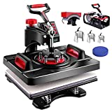 Heat Press Machine Upgraded, 8 in 1 Combo Multifunctional Swing Away Clamshell Sublimation Heat Transfer Press 12'X15', Easy Press Machine for T-Shirts Mug Hat/Cap Plate Sport Bottle