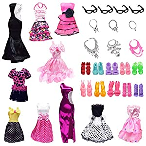 🌷Creative Design Dress :10 different style fashion and beautiful party dresses for little girls as the picture show, unique designs make your doll more beautiful. 🌷Gift For Kids: Handmade Doll Clothes and Accessories for Children's Day, Birthday, Hol...