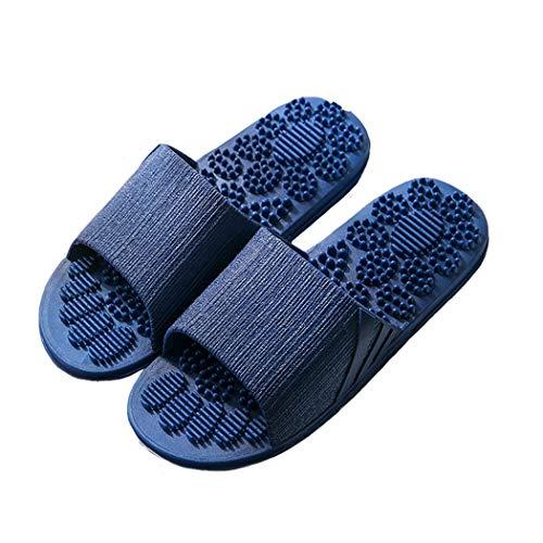 Veluckin Chaussons de Douche de Salle de Bains Pantoufles de Massage pour Femme Homme Chaussures de Plage,Bleu foncé,44/45EU