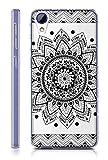 Sunrive HTC Desire 650/628 / 626 / 626G Hülle Silikon, Transparent Handyhülle Schutzhülle Etui Hülle Backcover für HTC Desire 650/628 / 626 / 626G(TPU Blume Schwarze)+Gratis Universal Eingabestift