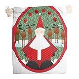 Bolsa de algodón para guardar regalos de Navidad, diseño de Papá Noel, color rojo, con doble cordón, para frutos secos, reutilizable, transpirable, multiusos, blanco, 12 * 18cm