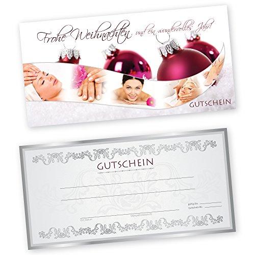 50 Weihnachtsgutscheine Gutscheinkarten XMAS RED BEAUTY für Kosmetikstudio Gutscheine Geschenkgutscheine